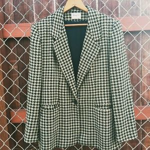 VINTAGE Blazer Black Tan Gold Herringbone Pattern